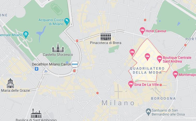 Il quadrilatero della Moda a Milano